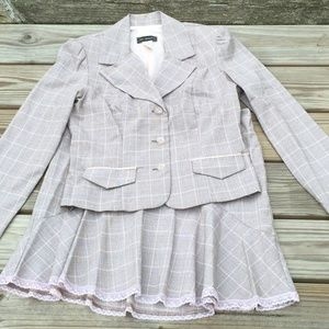 ⬇️ $39 - Pink and Brown Plaid 2 Piece Skirt Suit